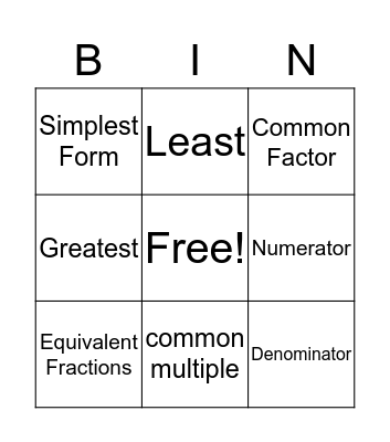 Fraction Vocab Review Bingo Card