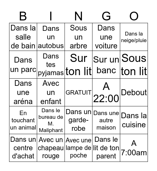 Lecture Bingo- Minimum 15 minutes de lecture Bingo Card