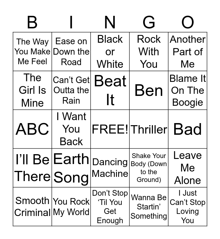 Michael Jackson Bingo Card