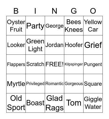 The Great Gatsby Bingo Card