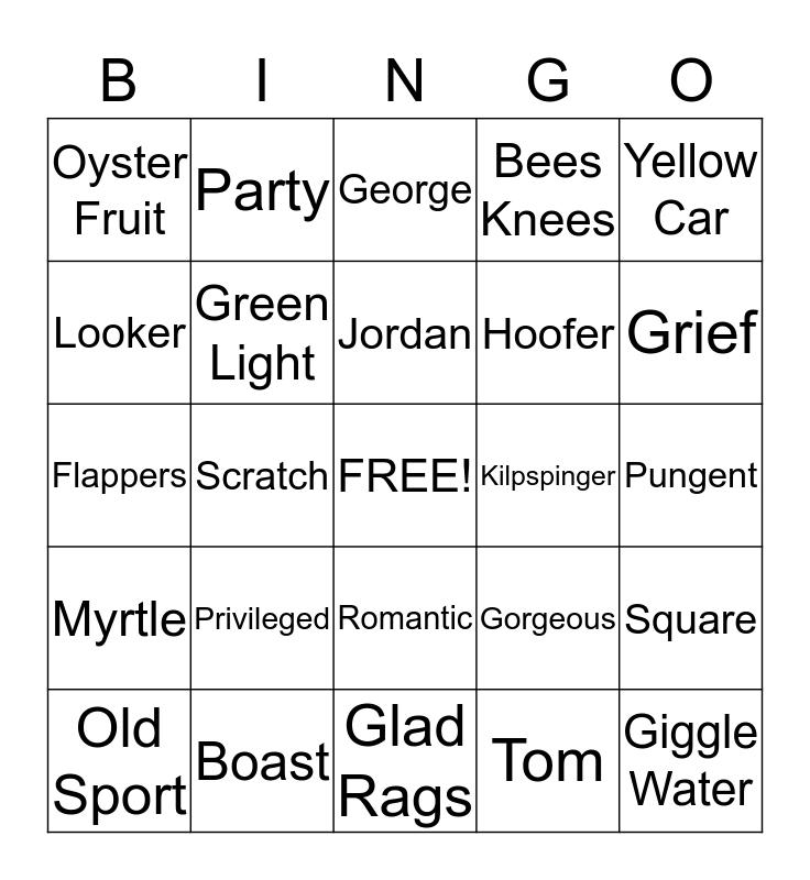 The Great Gatsby Bingo Card