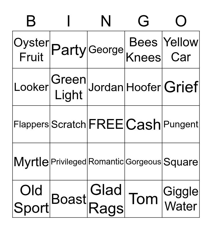 The Great Gatsby Brunch Bingo Card