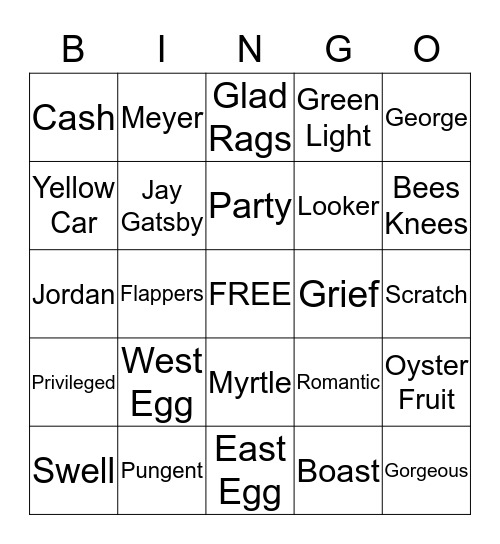 The Great Gatsby Brunch Bingo Card