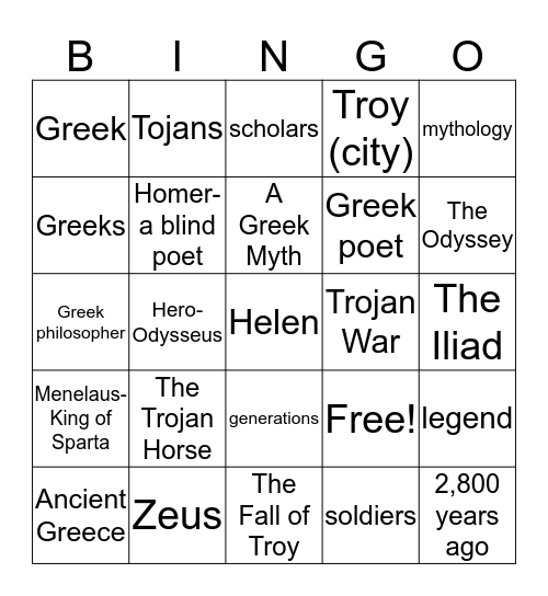 The Trojan Horse Vocabulary-BINGO Card