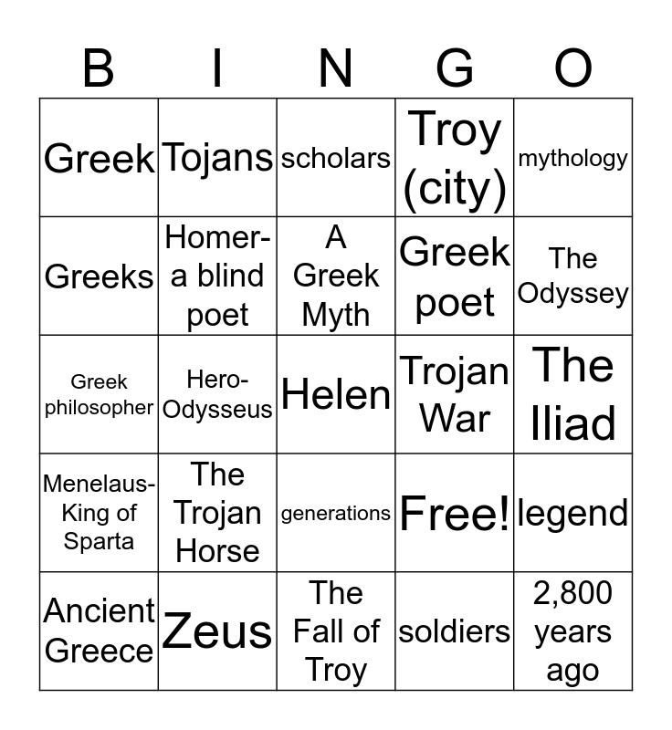 The Trojan Horse Vocabulary-BINGO Card