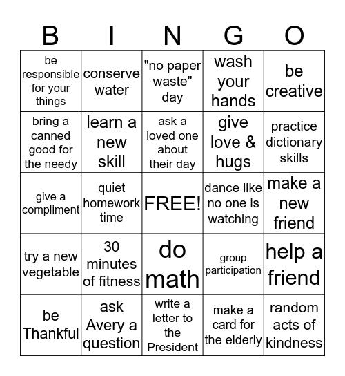Character Bingo Card