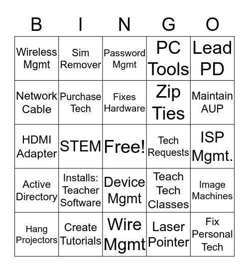 What's My Job Again/It's in the bag Bingo Card