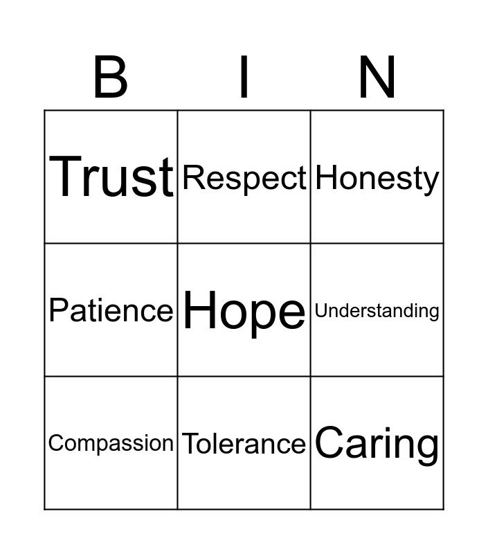 Values Bingo Card