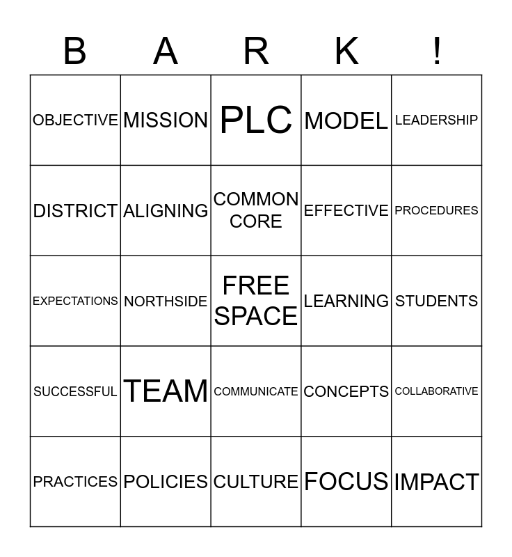 Aligning Policies, Practices, and Procedures With the Learning Mission Bingo Card