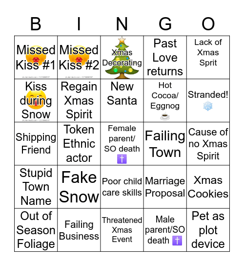 Hallmark Xmas Movie Bingo  Bingo Card