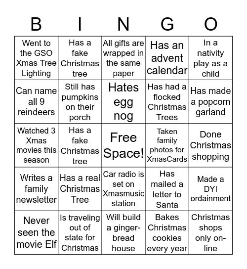 Christmas Bingo! Bingo Card