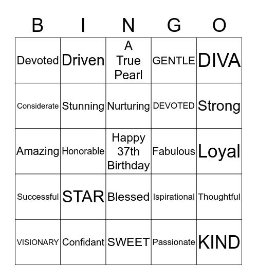 Our Sister/Friend Bingo Card