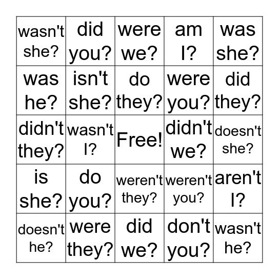 Tag Questions Bingo Card