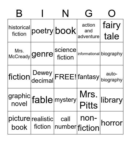 Book Genre Bingo Card