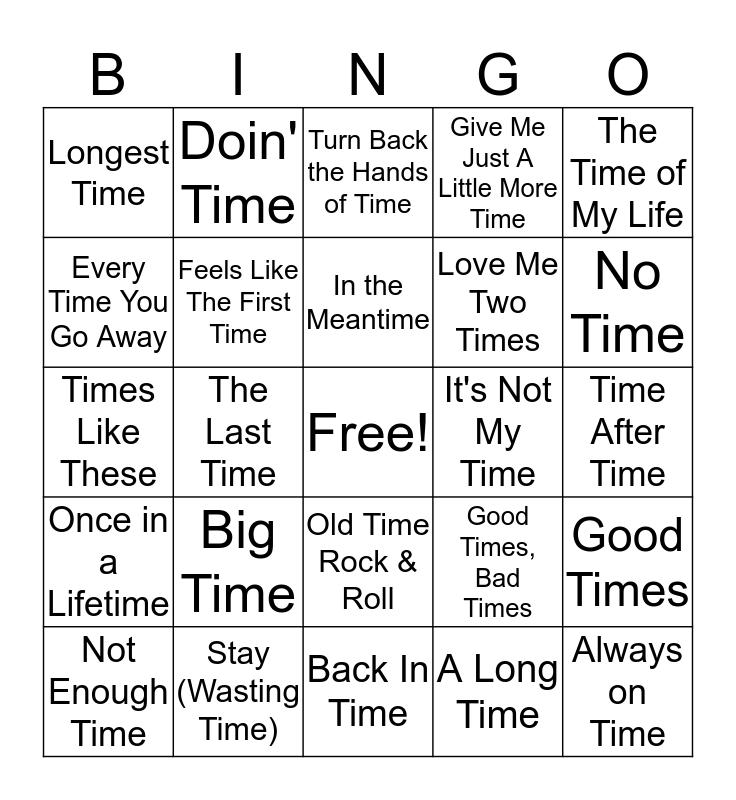 Mental Floss Music Bingo: Time Bingo Card