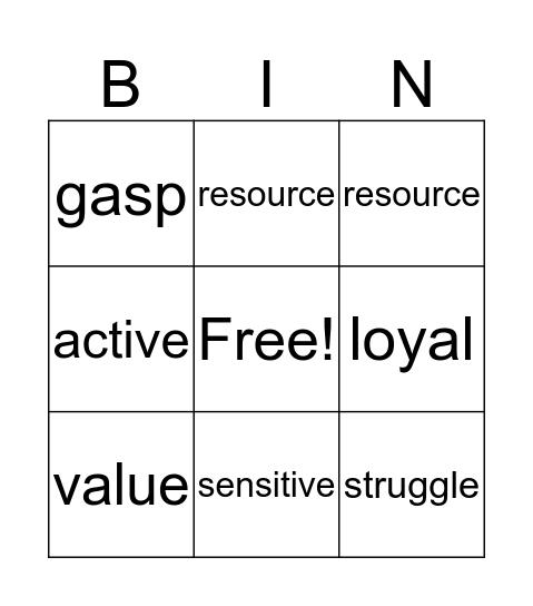 Sadlier Unit 3 Bingo Card