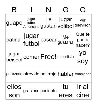 Spanish 8 Bingo Card