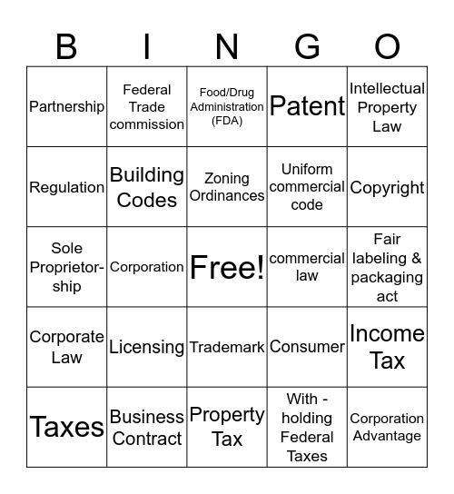 Business Management Bingo Card