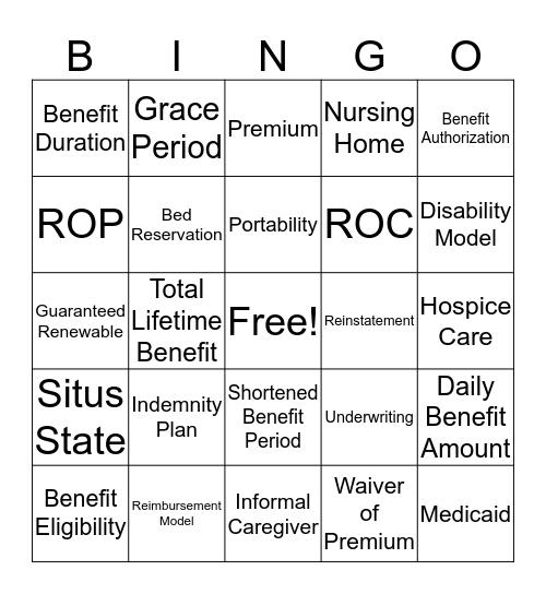 LTC Glossary Terms  Bingo Card