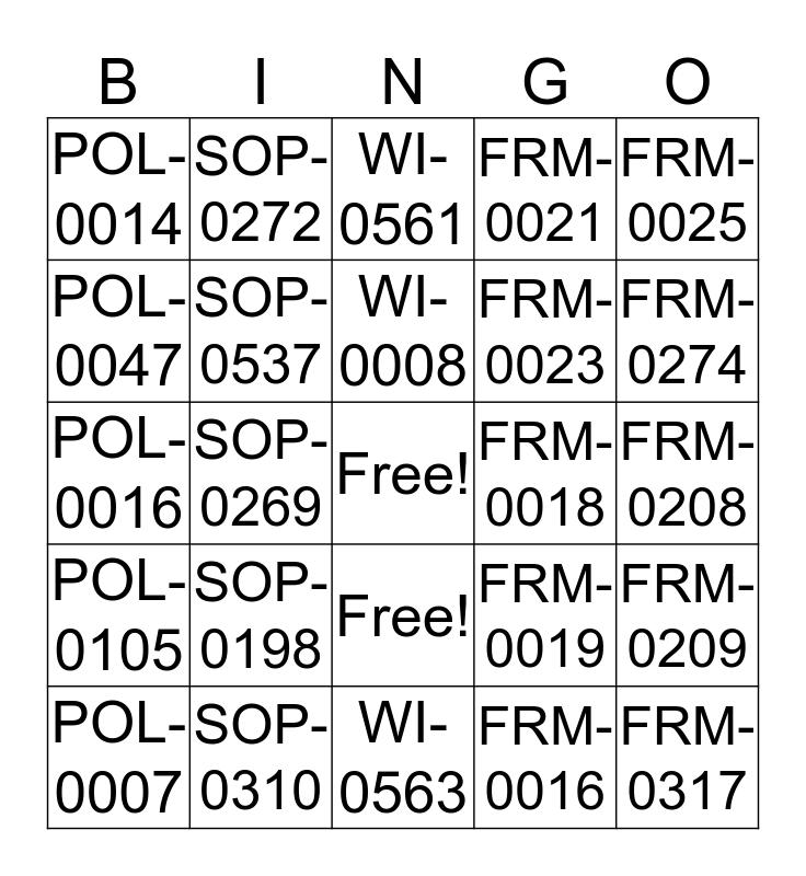 QM-0012 BINGO Card