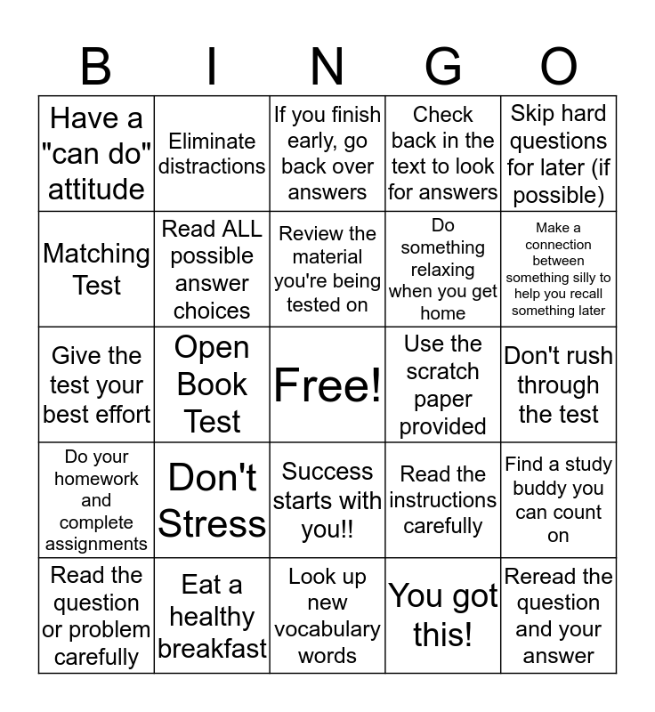 Test Taking Strategies Bingo Card