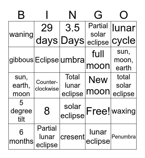 Solar and lunar eclipse  Bingo Card