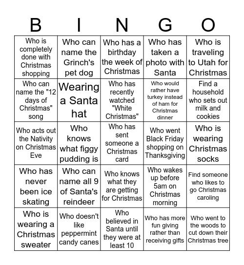 Christmas Blackout Bingo: Find someone... Bingo Card