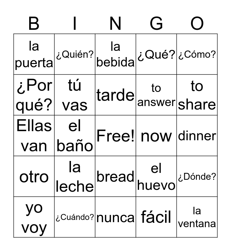 Unidad 3 Lección 1 Vocabulario Bingo Card