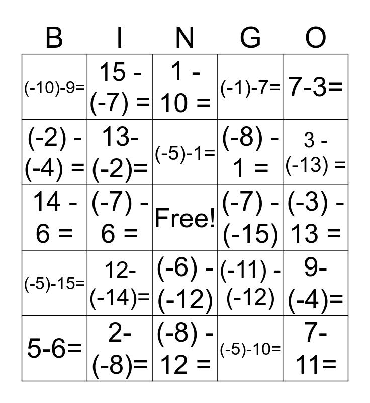 Subtracting Integers Bingo Card