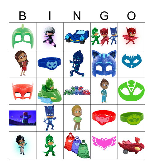 PJ MASK BINGO Card