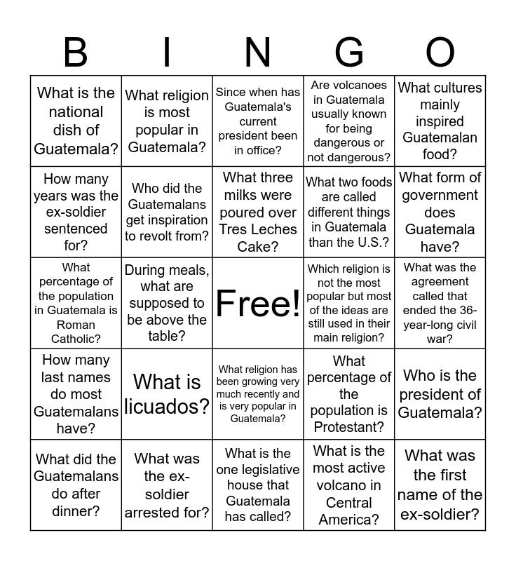 Guatemala Bingo Card