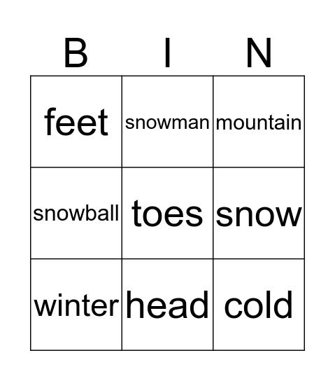 Snowy Day Bingo Card