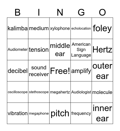 Sound Bingo Card