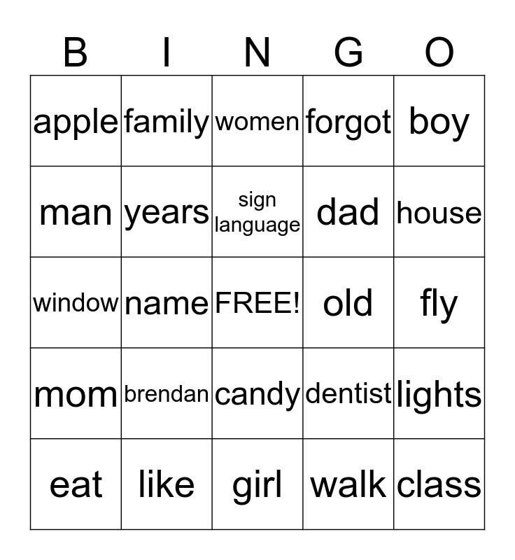 Sign Language Bingo Card