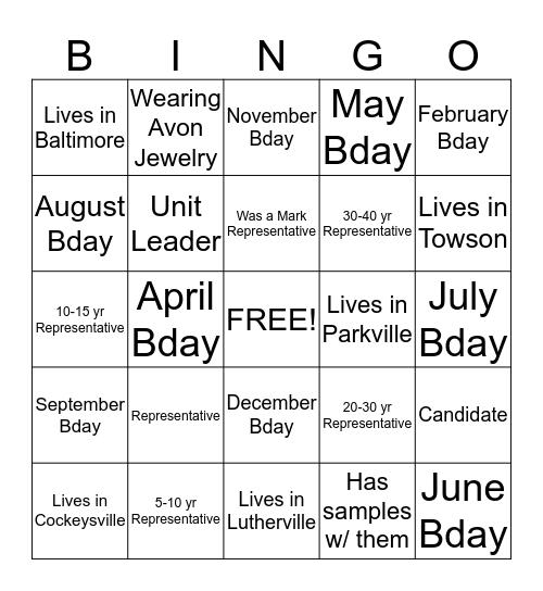 Avon Bingo Card