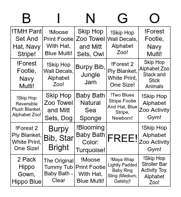 Indra's baby shower gifts Bingo Card