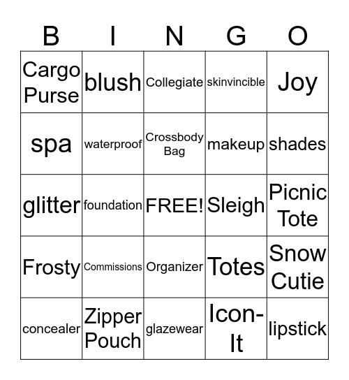AVON/Thirty-One Bingo Card
