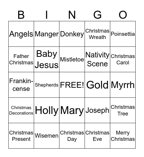 Christmas Bingo Card