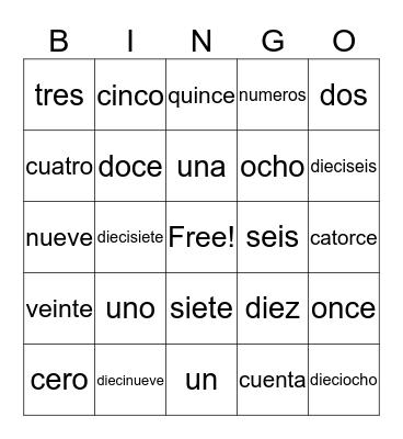 Los numeros cero al veinte Bingo Card