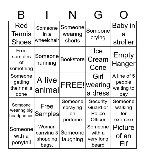 Mall Bingo Card