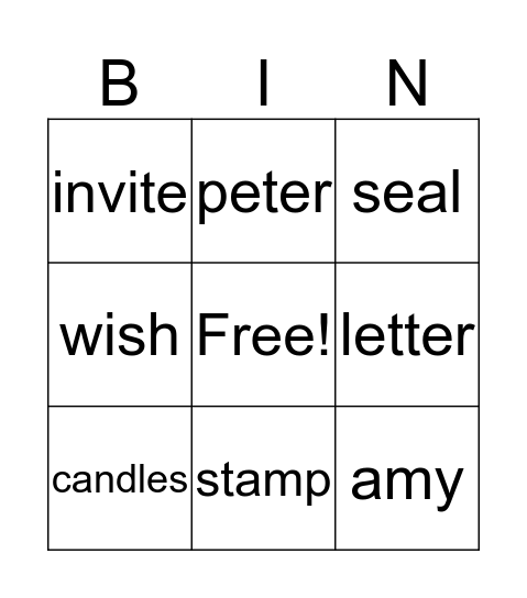 A Letter to Amy Bingo Card