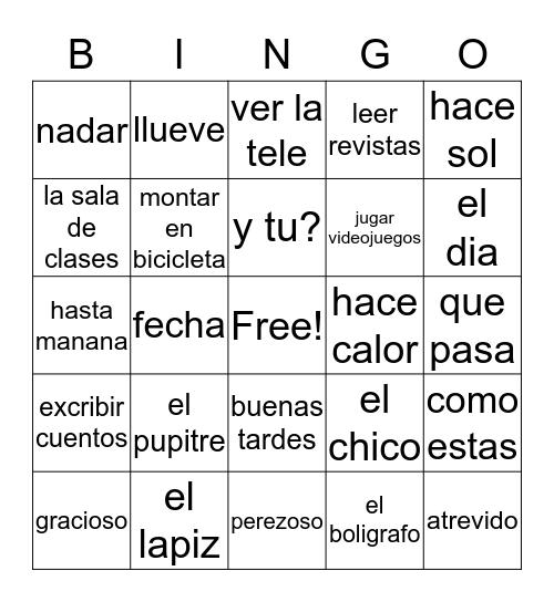 Espanol Bingo Card