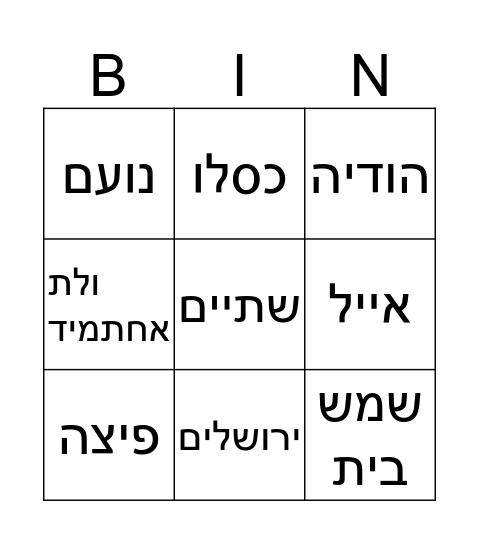 יום הולדת ליואב ואוריאל Bingo Card