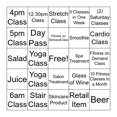 Wellness Bingo Card