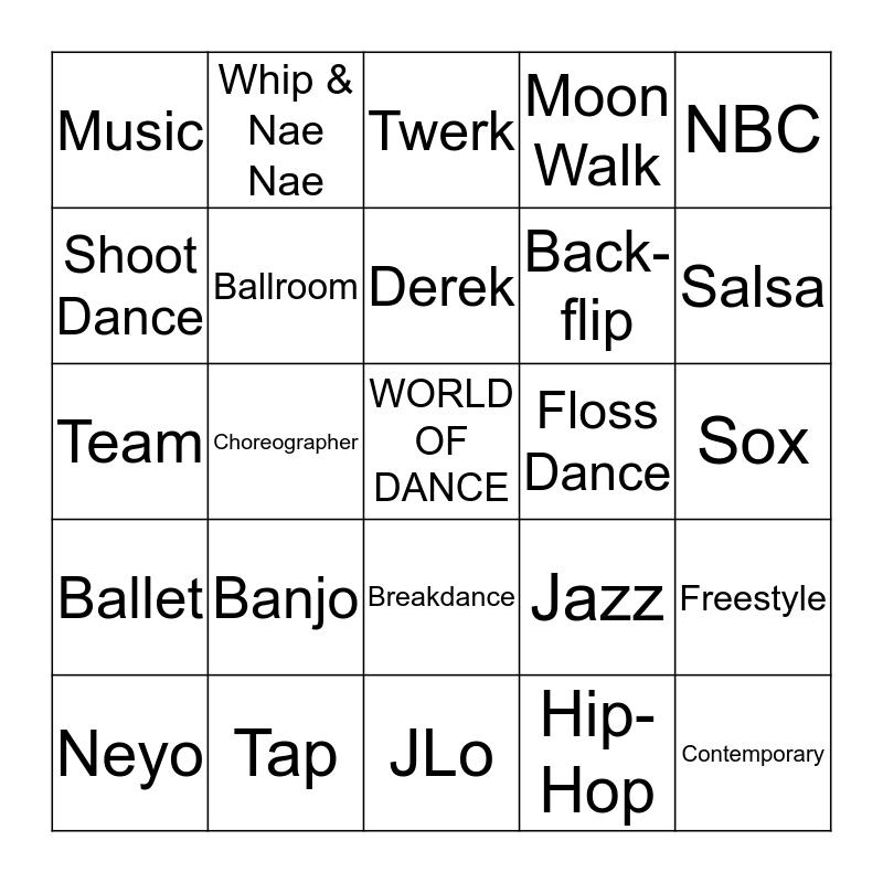 WOLRD OF DANCE BINGO Card