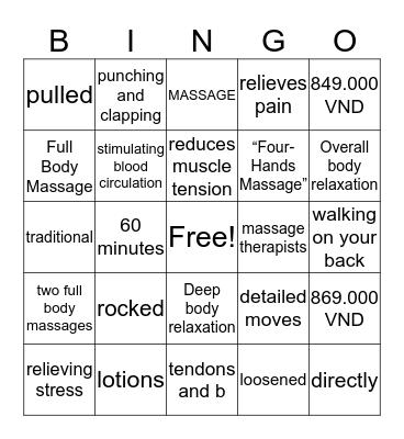 Spa Bingo Card