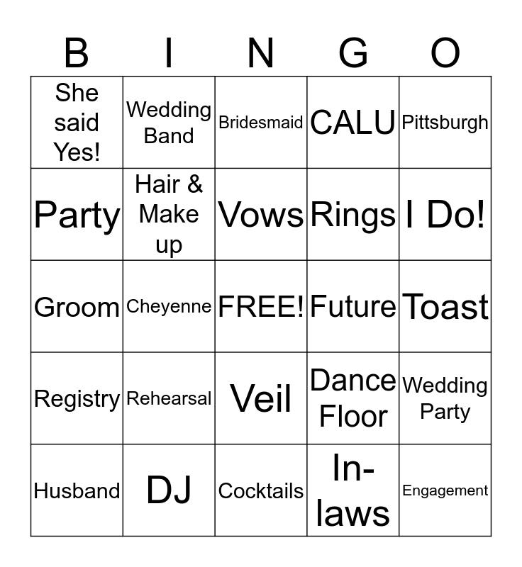 Cheyenne's Bachelorette Party! Bingo Card