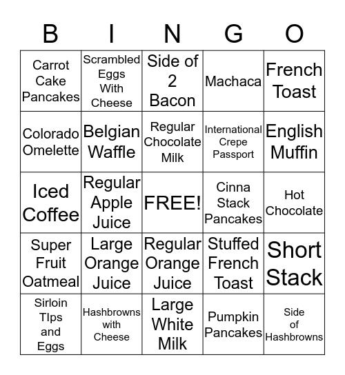 IHOP Bingo Card