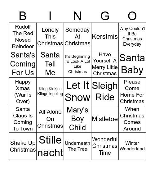 Kerst muziek Bingo !!! :)  Bingo Card