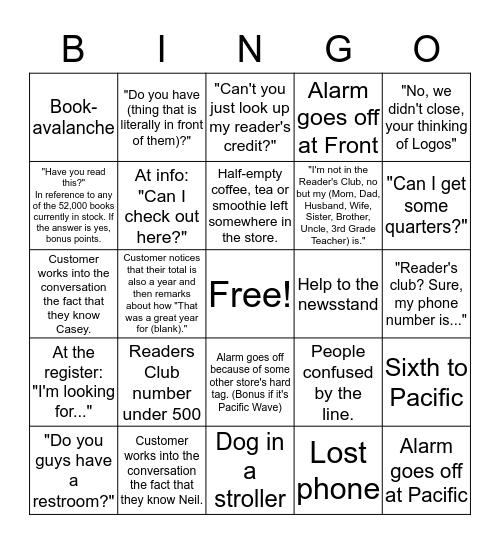 BOOKSHOP BINGO: FLOOR EDITION Bingo Card